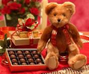 Cute Valentine's Day Plush Teddy Bear With Chocolate Truffles