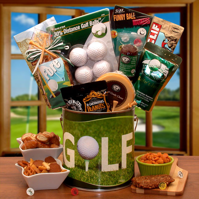 Christmas Gift Basket Ideas For Men.Golf Snacks Pail For Men