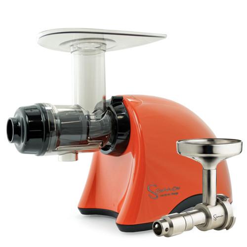 Omega Sana EUJ-707PO Slow Juicer in Pearl Orange with Oil Attachment