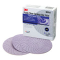 Product Description What the power of 3M™ Purple Clean Sanding Discs can do for you: Extend disc life - More power to go the distance with discs that can last 2-3 times longer than traditional no-hole, 5-hole or 6-hole discs. Increase productivity - Longer-lasting discs improve productivity and the unique multi-hole disc pattern is designed for quicker changes because hole alignment is not required. You'll see the difference in material consumption - and your bottom line. Clear out more dust with less disc loading - The spiral-patterned disc design features hundreds of holes to give dust a better escape route, moving more dust away from your finishing surface without loading the disc. Dust settles into the loops of the disc, and not in the air or on the disc surface. Improve cutting ability - Premium abrasives deliver consistent performance to get the job done ... and done right. Simplify disc application - Discs utilize the 3M™ Hookit™ Attachment System for easy reuse. Use for primer sanding , or preping before blending. Suggested backup pads ( 05551 and 05777).