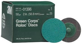 25 discs per box 24YF Grit 3M™ 01408 Green Corps™ Roloc™ Disc 3M 1408 3 inch