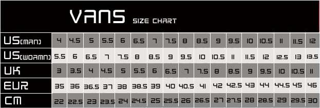 vans unisex size