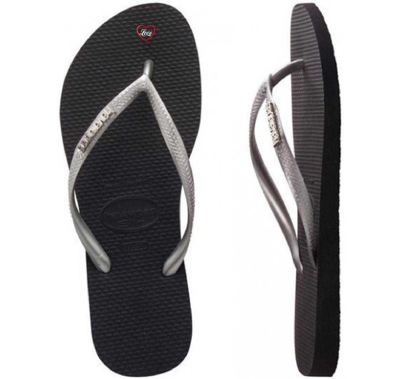 a041591f632912 Havaianas Slim Metal Logo Black Silver Silver - Golders Toowoomba