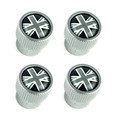 Black + Silver Union Jack Valve Stem Cap Set LR027666