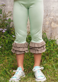 Swanky Baby Vintage Triple Ruffle Leggings - Chocolate Mint Julep