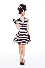 Mackenzie Mode First Place Dress - Black and White Stripe