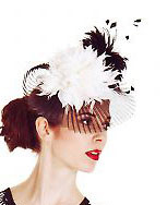 Mackenzie Mode Hat - Pleated Black and White Crin
