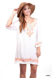 Umgee Embroidered Quarter Sleeve Tunic/Short Dress  Final Sale
