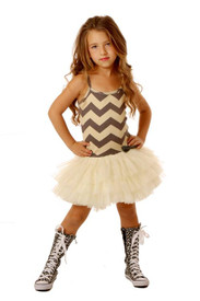 Ooh La La Couture Silver Champagne Ruffle Tutu Dress