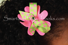 Hairbow - Green with Pink Dot