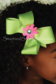 Hairbow - Green with Pink Flower