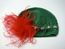 Little Em's Green Beanie with Red Feather