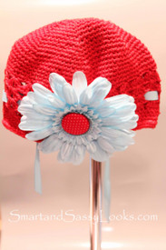 Little Em's Red Beanie with Lt Blue Flower