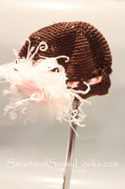 Little Em's Brown Beanie with Pink Feather