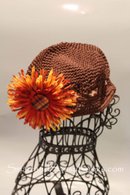 Little Em's Brown Beanie with Fall Flower