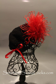 Little Em's Black Beanie with Red Feather