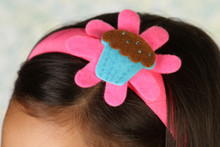 Headband - Pink band with Blue Cupcake