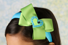 Headband - Blue band with Green Bow and Blue Heart