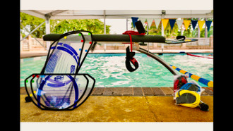 Folding Swim Bench w Headrest, Patented Swim Stroke templates, Progressive-Resistant  tubing for palm and elbow, tempo setting metronome, and finish brushes to complete each stroke.