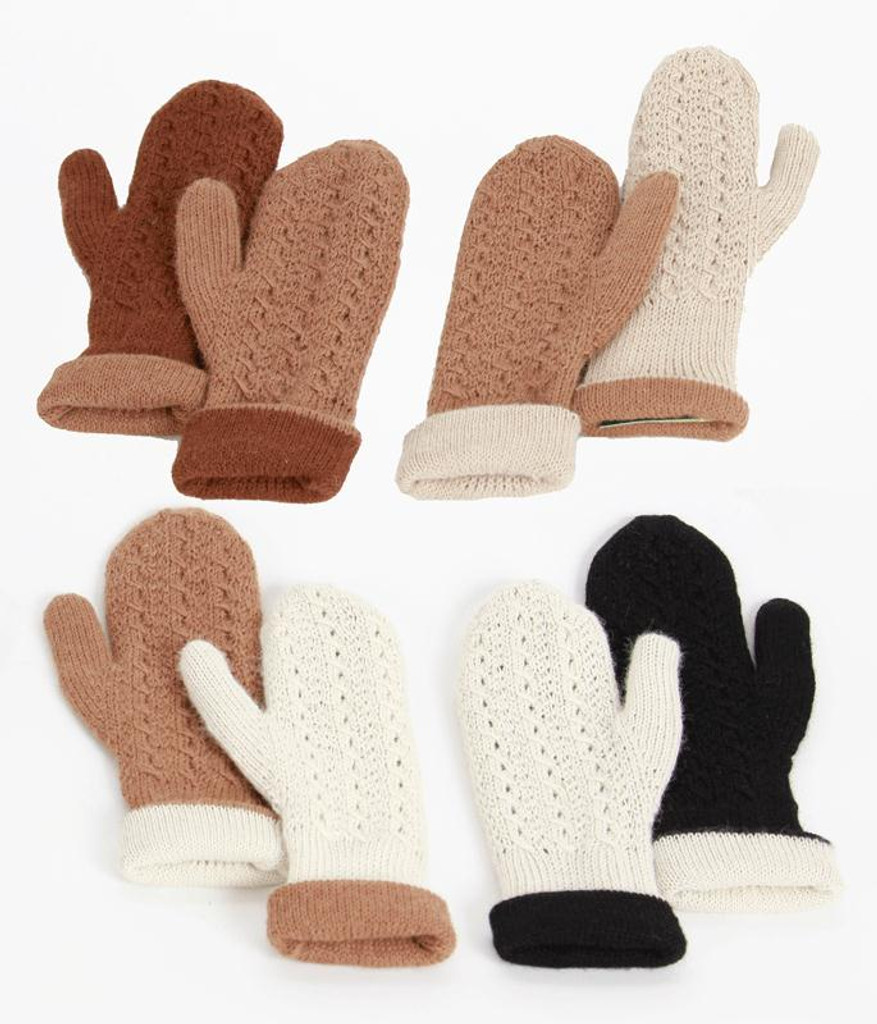 Accessories Unlimited Knitting Supplies : Alpaca accessories reversible hand knit mittens