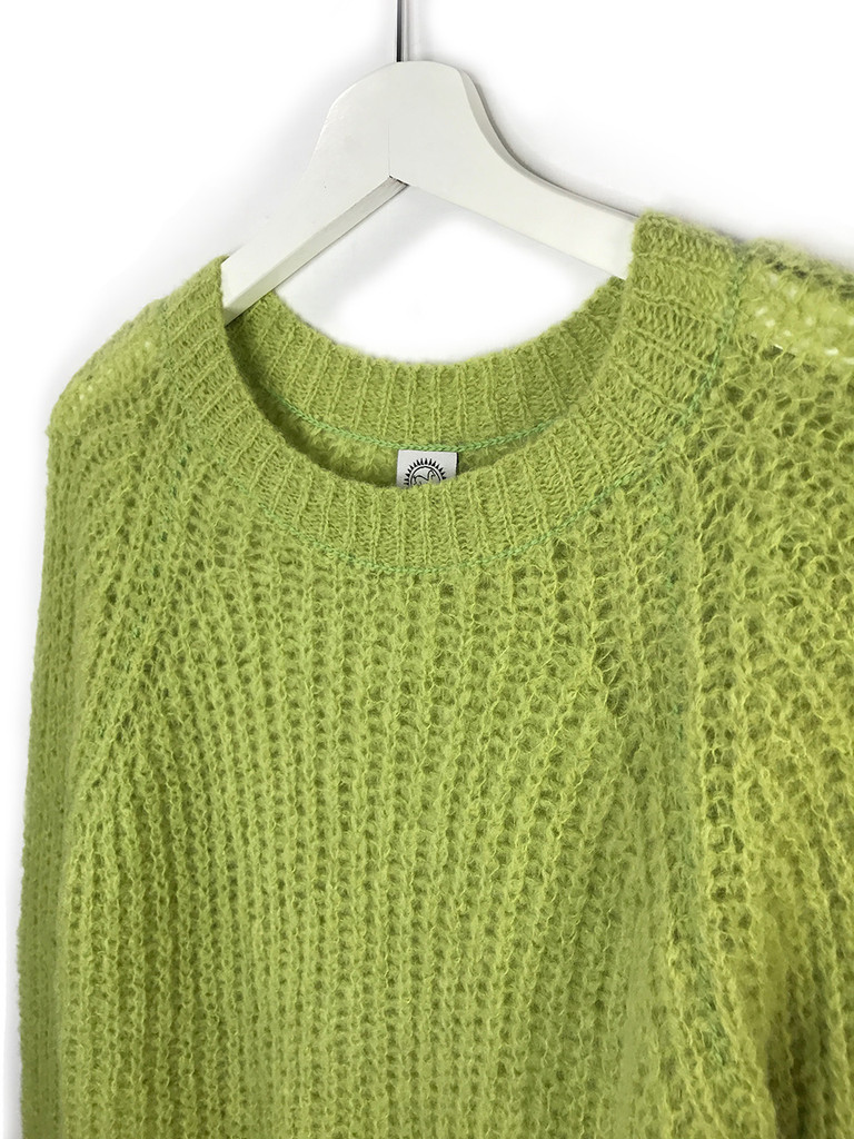 Alpaca Sweater - Cotton Candy Pullover Sweater  Greenery Close