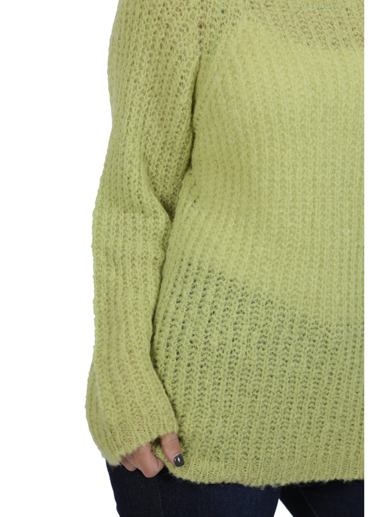 Alpaca Sweater - Cotton Candy Pullover Sweater  Greenery Detail