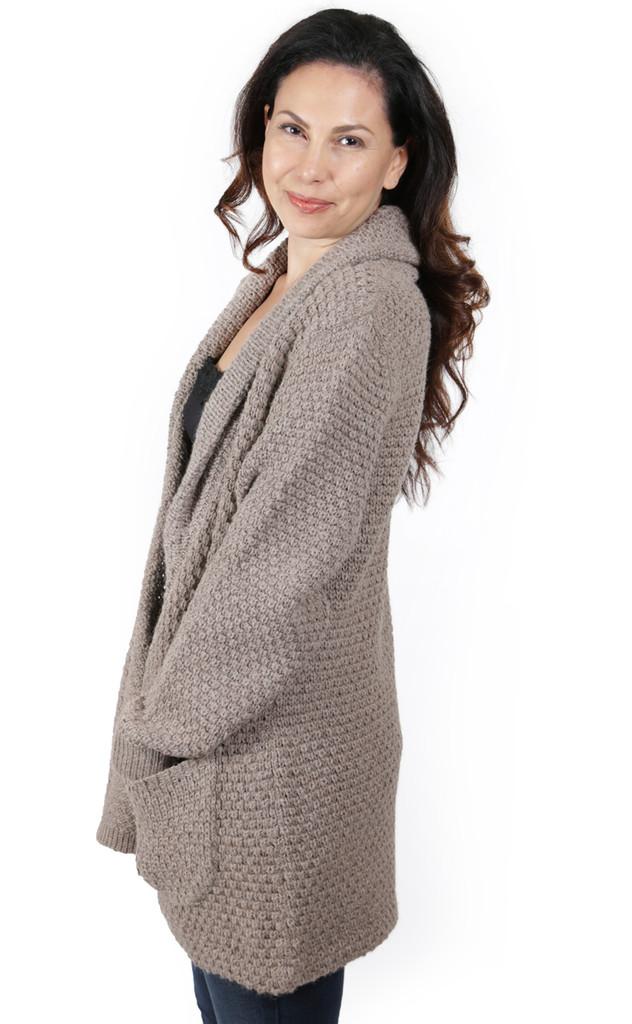 Beatrix Alpaca Cardigan Natural Rose Grey on Model Side