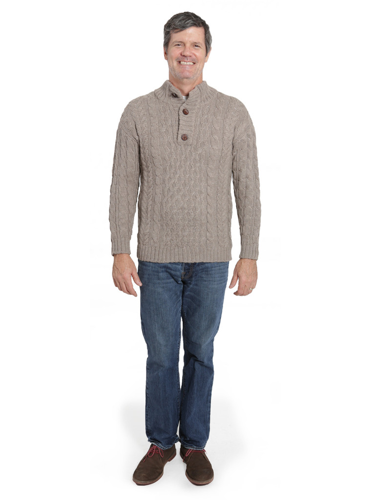 Cable 3-Button Neck Pullover Full Size