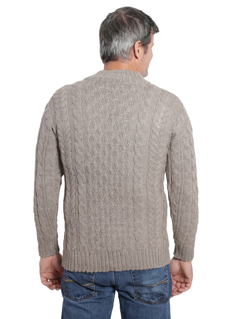 Cable 3-Button Neck Pullover Back