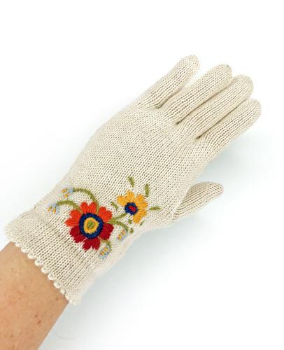Women's Baby Alpaca Floral Gloves