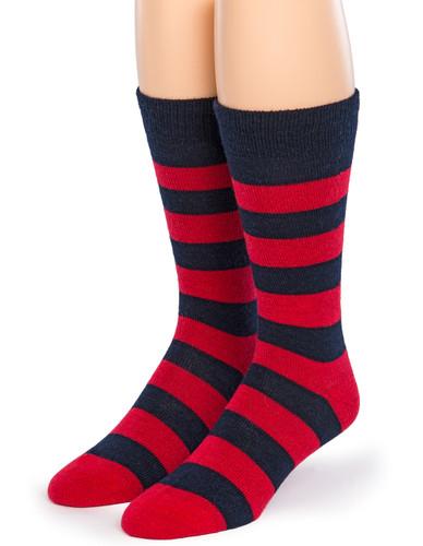 "Thick Striped Crew Alpaca Socks - ""New"""