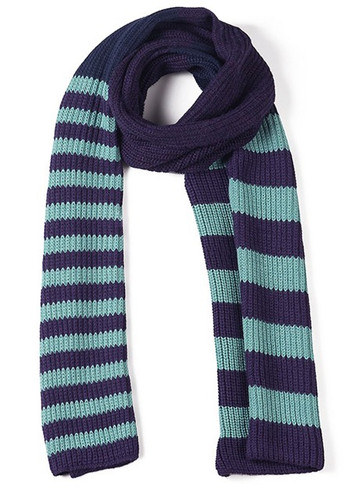 Variegated Stripe Knit Baby Alpaca Scarf