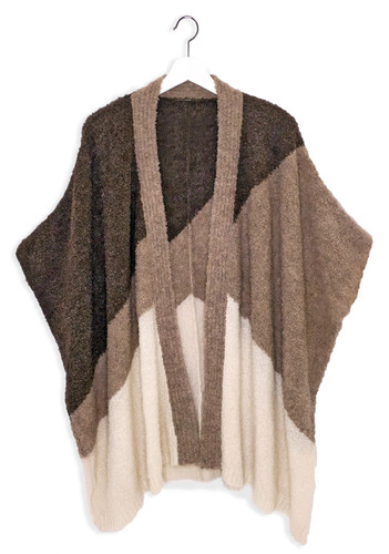Tri-Color Boucle Knit Cape