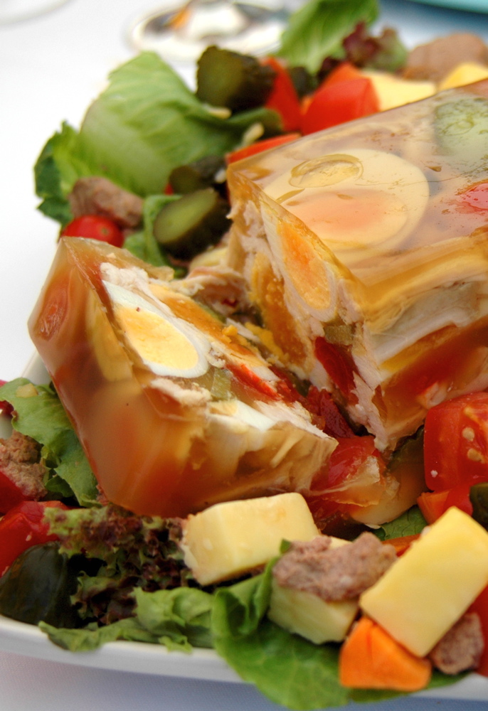 Aspic with Chicken and Eggs. Image by Anthony Georgeff on Flickr.