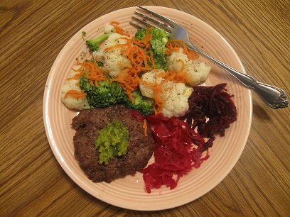Bison with steamed & fermented veggies
