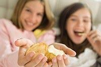 Girls enjoying chips