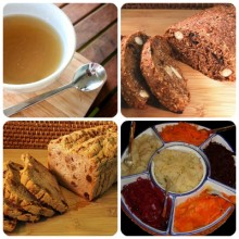 Real Bone Broth, Sprouted Bread, Gluten Free Bread, and Fermented Vegetables