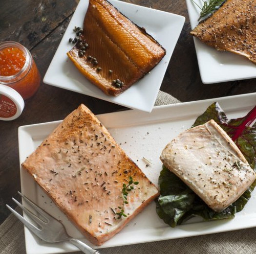 A delightful selection of wild salmon fillets, smoked salmon and salmon caviar (ikura)