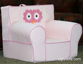 Addison (Addie Owl) Owl Applique'd Ugly-Where Chair - Regular Size - Free Personalization