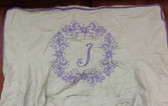 Premonogrammed Regular Size Ugly-Where Chair - J  -  L343 - Ivory Linen, Lavender Piping