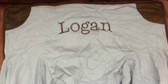 Premonogrammed Regular Size Ugly-Where Chair - Logan - L358 - Linen Faux Leather Patch and Piping