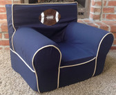 Ugly-Where Chair Slipcover - Regular Size - Free Personalization - Navy, Khaki Piping Football Applique