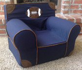 Ugly-Where Chair Slipcover - Regular Size - Free Personalization - Navy Patch, Faux Leather PIping Football Applique