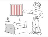 Comfort Armchair Slipcover Set - Box Edge Cushions - Red Ticking Stripe - locL103
