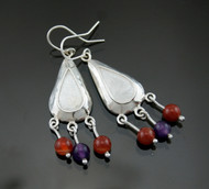 Nine50 Silver Amethyst Carnelian Rose Quartz Earrings