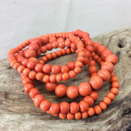 Orange Bella 5 Strand Wooden Bracelet Cluster