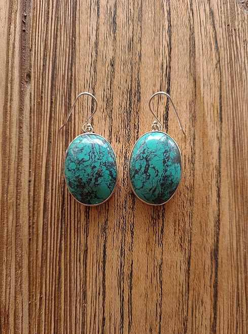 Large Oval Turquoise Earrings