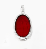 "Large Red/Oval Pendant ""Real Butterfly Wings"""