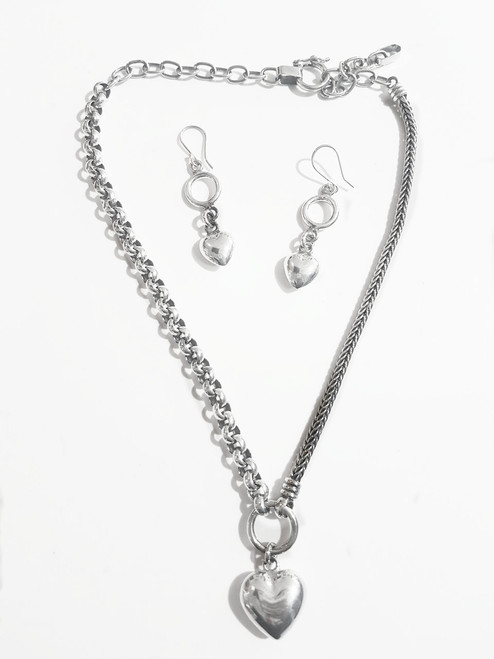 Nine50 Silver Heart Necklace and Earrings