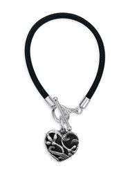 950 Peruvian Silver / Leather Heart Bracelet